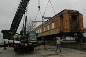 Photo: West Shore Services coordinated the lift of a 50-ton heavyweight Pullman Sleeper for the Western Michigan Society for Industrial Heritage. It will be renovated to provide handicap accessibility and leased to the Coopersville & Marne Railway for their historic theme trains.