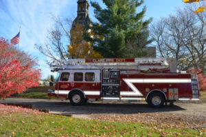 E-One pumper photo outfitted by West Shore Fire, Inc. in front of the Engine House No. 5 museum in Allendale, MI